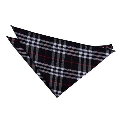 Black & White with Red Tartan Handkerchief / Pocket Square