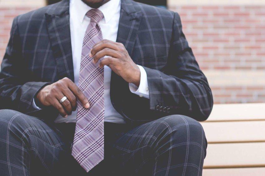 man wearing a modern slim tie