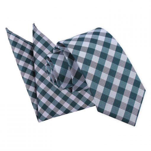 Turquoise Gingham Check Tie & Pocket Square Set