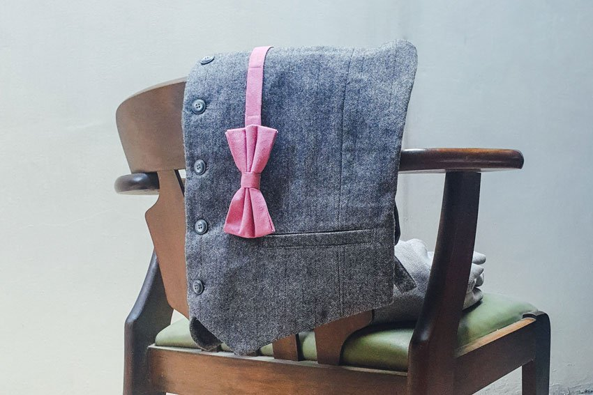 Wool Waistcoat and Suede Bow
