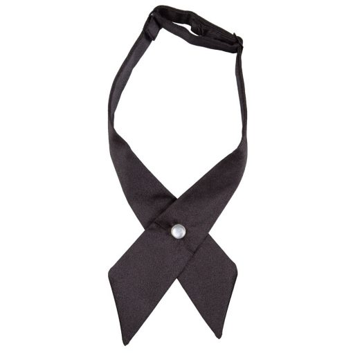Black Plain Satin Crossover Bow Tie