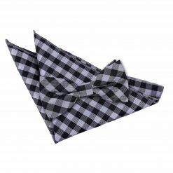 Black Gingham Check Bow Tie & Pocket Square Set