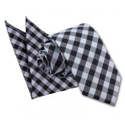 Black Gingham Check Tie & Pocket Square Set