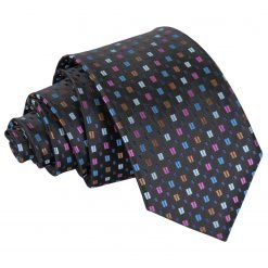 Black with Blue and Pink Bohemian Geometric Slim Tie