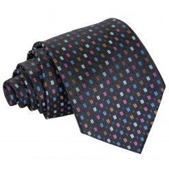 Black with Blue and Pink Bohemian Geometric Classic Tie
