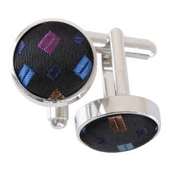 Black with Blue and Pink Bohemian Geometric Cufflinks