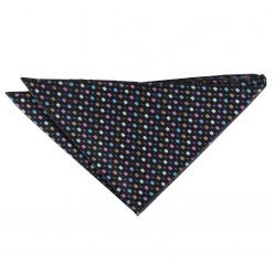 Black with Blue and Pink Bohemian Geometric Pocket Square