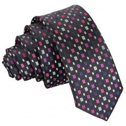 Black with Pink and Silver Bohemian Geometric Skinny Tie