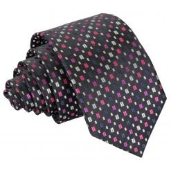 Black with Pink and Silver Bohemian Geometric Slim Tie