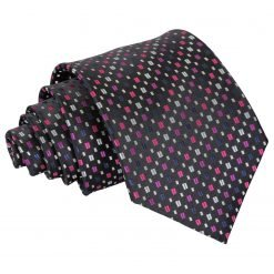 Black with Pink and Silver Bohemian Geometric Classic Tie