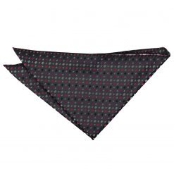 Black with Pink and Silver Bohemian Geometric Pocket Square