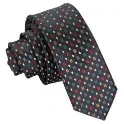 Black with Red and Gold Bohemian Geometric Skinny Tie