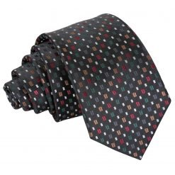 Black with Red and Gold Bohemian Geometric Slim Tie
