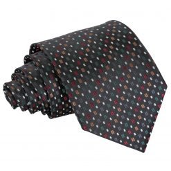 Black with Red and Gold Bohemian Geometric Classic Tie