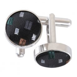 Black with Red and Gold Bohemian Geometric Cufflinks