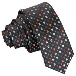Black with Silver and Orange Bohemian Geometric Skinny Tie
