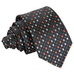 Black with Silver and Orange Bohemian Geometric Slim Tie