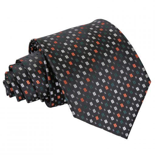 Black with Silver and Orange Bohemian Geometric Classic Tie