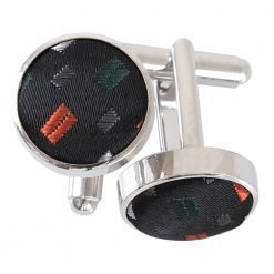 Black with Silver and Orange Bohemian Geometric Cufflinks