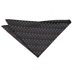 Black with Silver and Orange Bohemian Geometric Pocket Square