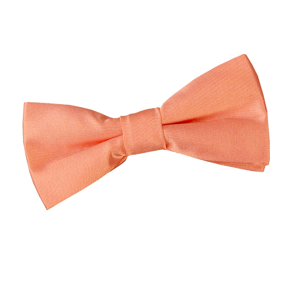 DQT Satin Plain Solid Coral Kids Elasticated Pre-Tied Page Boys Tie