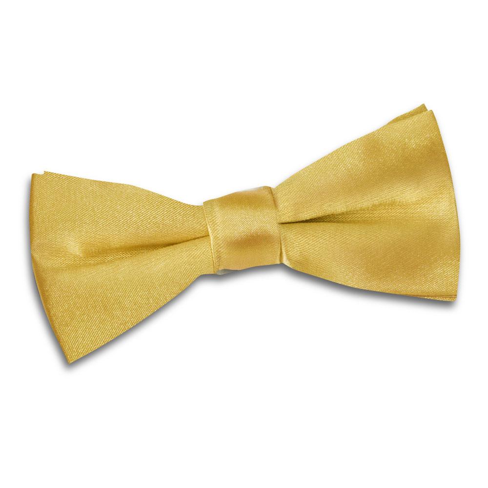 Boys Plain Gold Satin Bow Tie