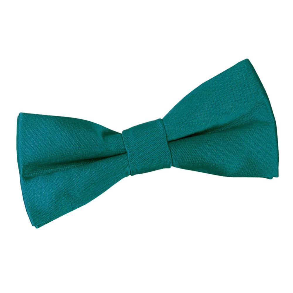 Boys Plain Teal Satin Bow Tie