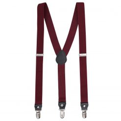 Burgundy Plain Braces for Boys
