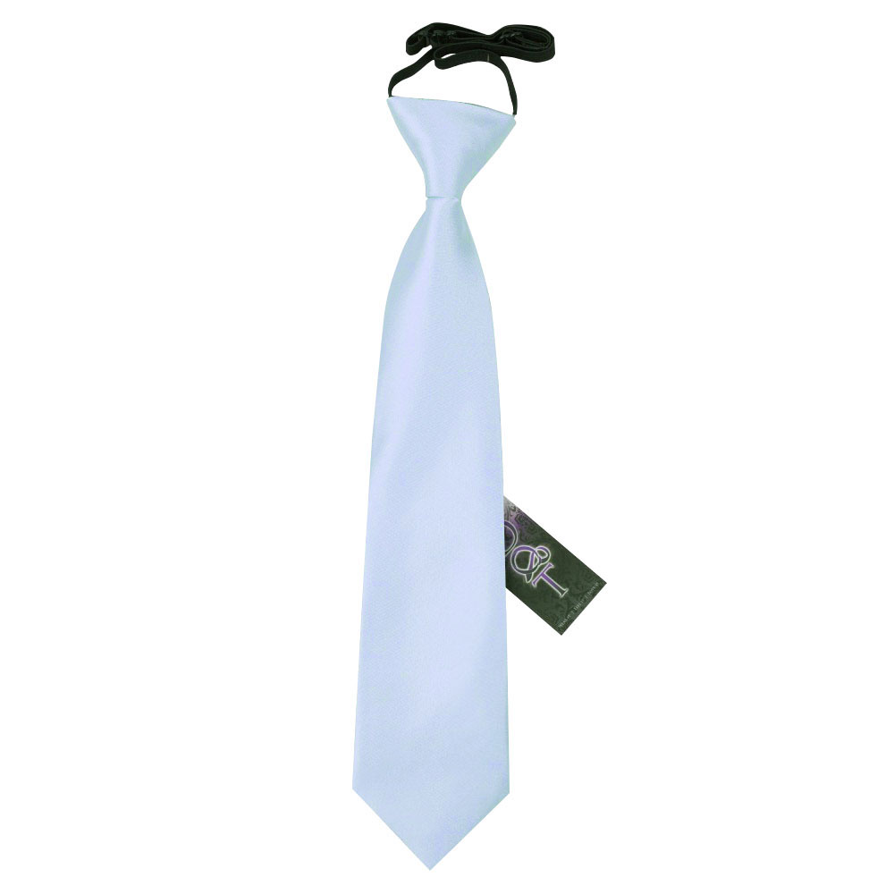 Baby Blue Boys Elasticated Tie Satin Solid Plain Formal Wedding Pre-Tied by DQT