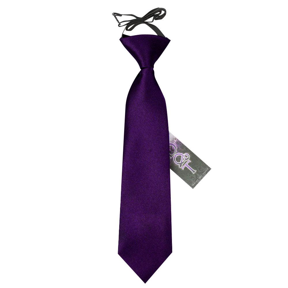 DQT Satin Plain Solid Purple Kids Elasticated Pre-Tied Page Boys Tie