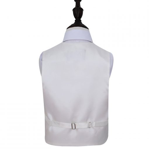 Ivory Plain Satin Wedding Waistcoat & Tie Set for Boys