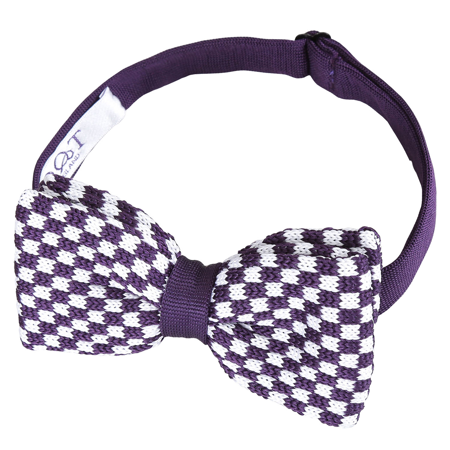 8d9d398f1bf3 Details about DQT Knit Knitted Checkered Check White Purple Classic Mens Pre -Tied Bow Tie