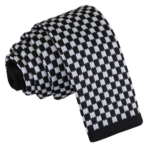 White and Black Check Knitted Skinny Tie