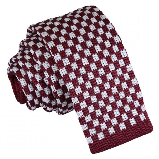 White and Burgundy Check Knitted Skinny Tie