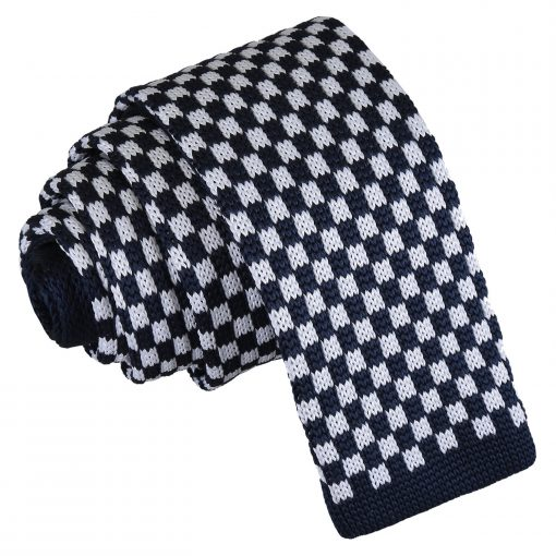 White and Navy Check Knitted Skinny Tie