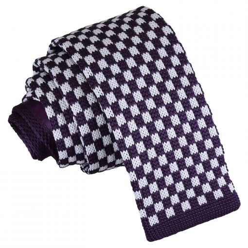 White and Purple Check Knitted Skinny Tie