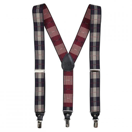 Beige & Red Checked Plaid Braces