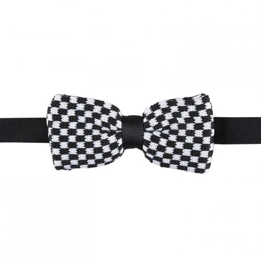 White and Black Check Knitted Pre-Tied Bow Tie