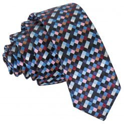 Black with Blue, Burgundy and Bronze Chequered Geometric Skinny Tie