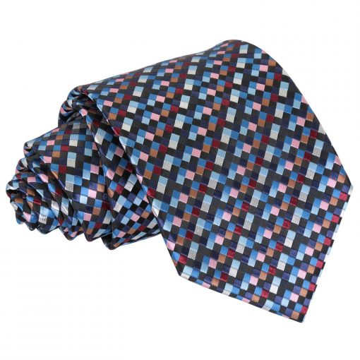 Black with Blue, Burgundy and Bronze Chequered Geometric Classic Tie