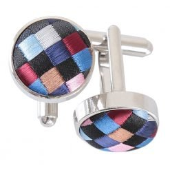 Black with Blue, Burgundy and Bronze Chequered Geometric Cufflinks