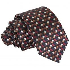 Black with Bronze, Silver and Red Chequered Geometric Slim Tie
