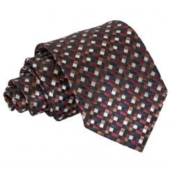 Black with Bronze, Silver and Red Chequered Geometric Classic Tie