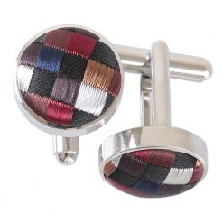 Black with Bronze, Silver and Red Chequered Geometric Cufflinks