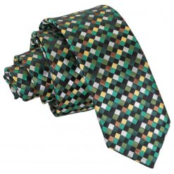Green with Gold, Silver and Bronze Chequered Geometric Skinny Tie