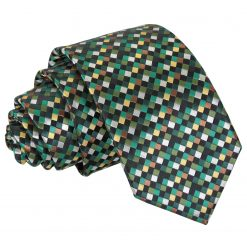 Green with Gold, Silver and Bronze Chequered Geometric Slim Tie
