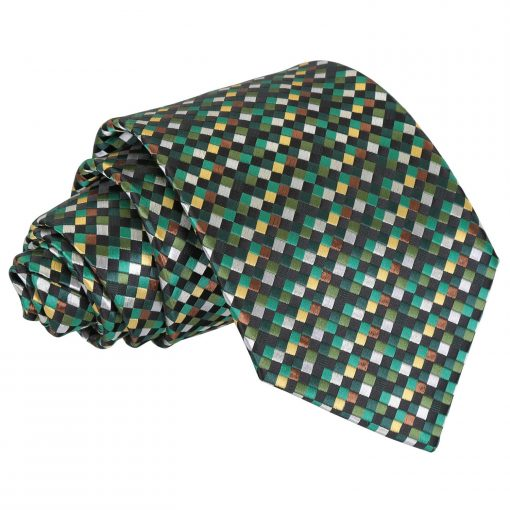 Green with Gold, Silver and Bronze Chequered Geometric Classic Tie