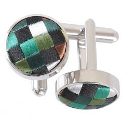Green with Gold, Silver and Bronze Chequered Geometric Cufflinks