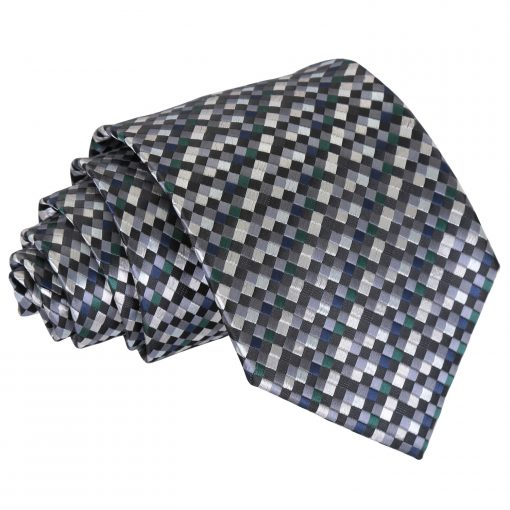 Silver with Black, Green and Navy Chequered Geometric Classic Tie