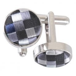 Silver with Black, Green and Navy Chequered Geometric Cufflinks
